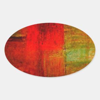 Röd grön konst för Browny gultabstrakt Ovalformat Klistermärke