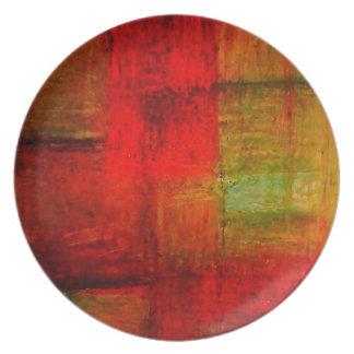 Röd grön konst för Browny gultabstrakt Dinner Plates
