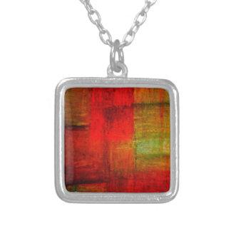 Röd grön konst för Browny gultabstrakt Halsband Med Fyrkantigt Hängsmycke