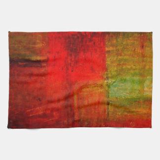 Röd grön konst för Browny gultabstrakt Handuk