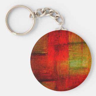 Röd grön konst för Browny gultabstrakt Rund Nyckelring