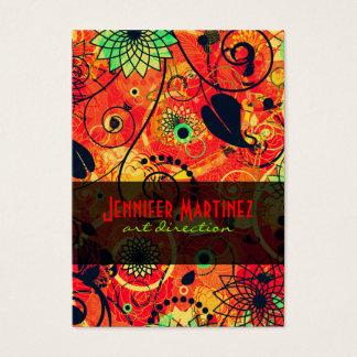 Röd & grön Retro blom- Collage Visitkort