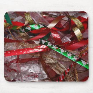 Röd grönt för julrosett band och guld- helgdag musmatta