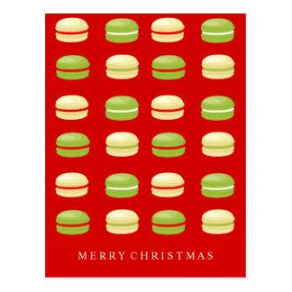 Röd grönt- och vitjulfransk Macarons Vykort
