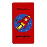Röd gul bokägarmärkeetikett för raket fraktsedel