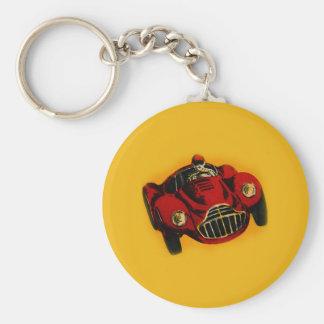 Röd gul gammal Auto tävlings- bil Nyckel Ringar