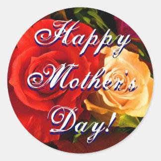 Röd gul ros för lycklig mors dag runt klistermärke