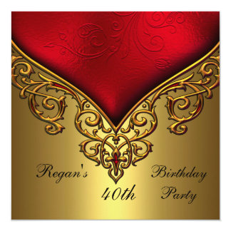 Röd guld- elegant födelsedagsfest för juvel 40th fyrkantigt 13,3 cm inbjudningskort