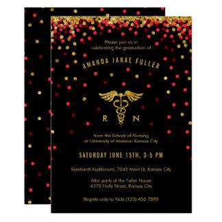 Röd & guld- inbjudan för konfettisjukvårdstudenten