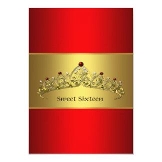 Röd guld- inbjudan för Tiarasweet sixteenparty
