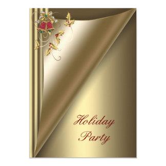 Röd guld- juljulfest 12,7 x 17,8 cm inbjudningskort