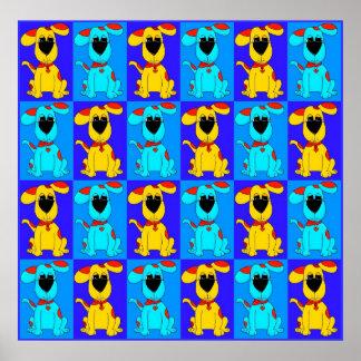 Röd gult för blått för hundar för affischbarnpojke poster