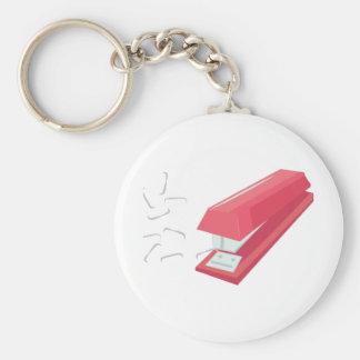 Röd häftapparat rund nyckelring