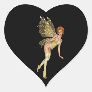 Röd Haired 3D skälmskt naturväxen - gul grön dräkt Hjärtformat Klistermärke