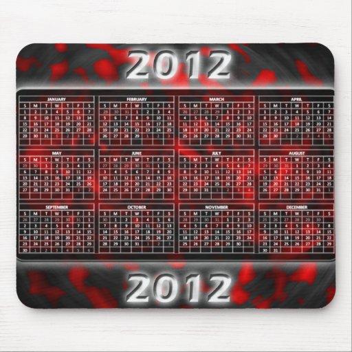 Röd härlig kalender 2012 för Mousepad Mus Mattor