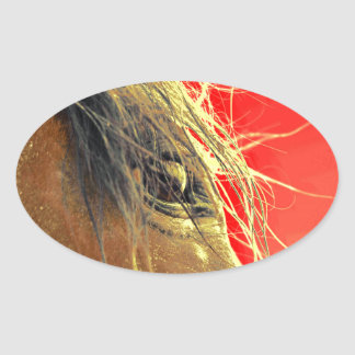 Röd hästvild för kärleken av hästar ovalt klistermärke