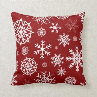 Röd helgdagar för jul för vitvinterSnowflake Kudde