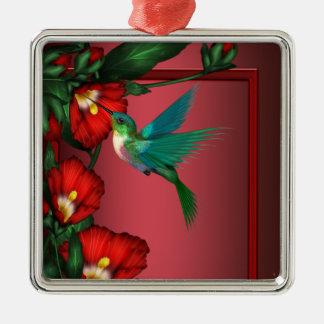 Röd hibiskusprydnad för Hummingbird Julgransprydnad Metall