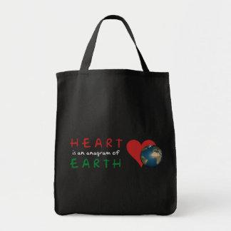 Röd hjärta är anagramen för grön jord mat tygkasse