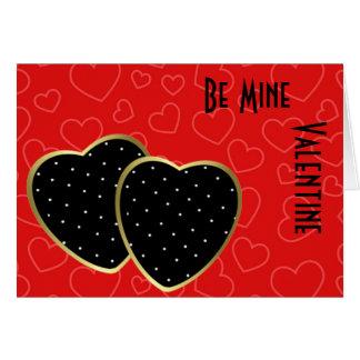 Röd hjärta Backgroujnd svart och guld- hjärtor för Hälsningskort