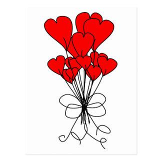 Röd hjärta blommar buketthjärtaillustrationen vykort