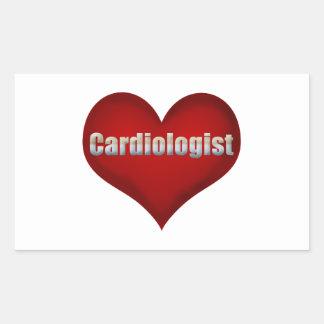Röd hjärta för Cardiologist Rektangulärt Klistermärke