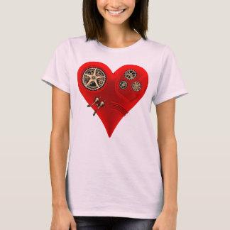 Röd hjärta för roligt vintageSteampunk urverk Tee Shirts