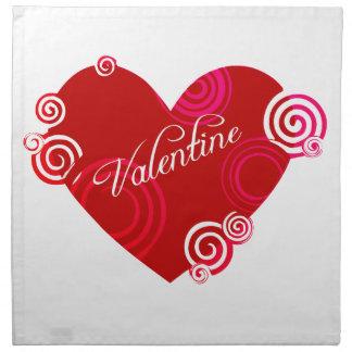 Röd hjärta för valentin tygservett
