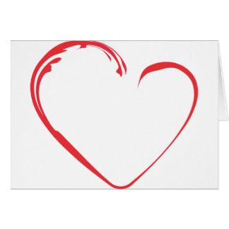 Röd hjärta med krusidull hälsningskort