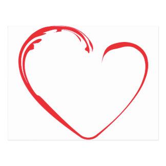 Röd hjärta med krusidull vykort
