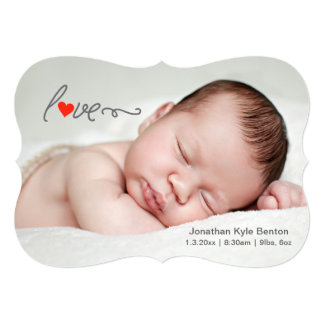 Röd hjärta - meddelande för nyfödd 12,7 x 17,8 cm inbjudningskort