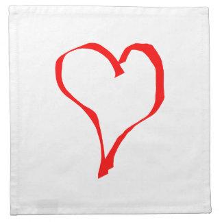 Röd hjärta på White. Tygservett