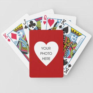 Röd hjärtafotoram spelkort