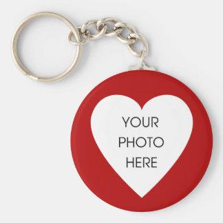 Röd hjärtagränsKeychain mall - Rund Nyckelring