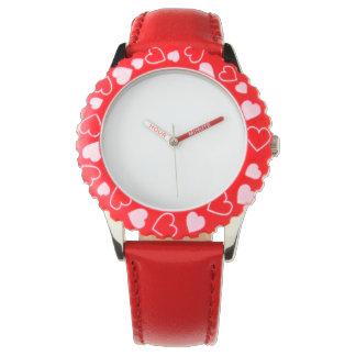 Röd hjärtaklocka för rostfritt stål, justerbar armbandsur