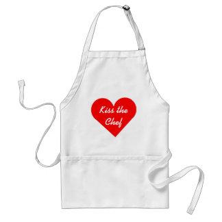 Röd hjärtakyss kockförklädet förkläde