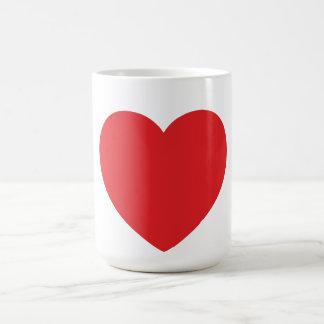 Röd hjärtamugg för singel vit mugg