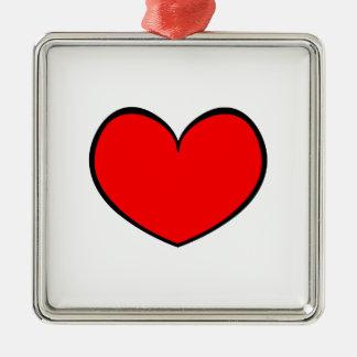 Röd hjärtaprydnad 0001 för singel julgransprydnad metall