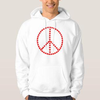 Röd hjärtarundafredstecken sweatshirt med luva
