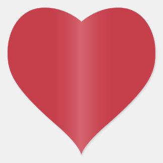 Röd hjärtformade satänglutning hjärtformat klistermärke