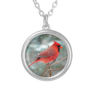 Röd huvudsaklig fågel i snövinter silverpläterat halsband