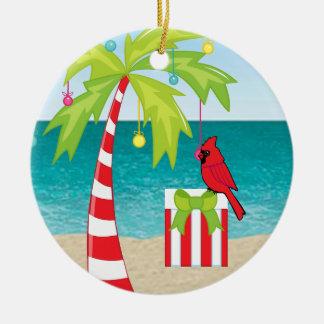 Röd huvudsaklig jul för tropisk strandpalmträd julgransprydnad keramik