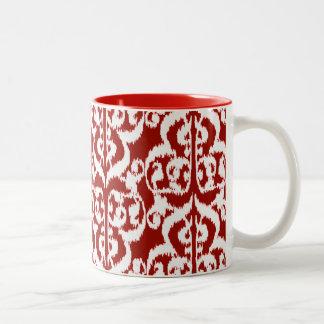 Röd Ikat Moorishdamast - mörk - och vit Två-Tonad Mugg
