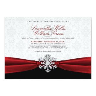Röd inbjudan för bandvinterbröllop