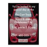Röd inbjudan för födelsedag för tävlingbil