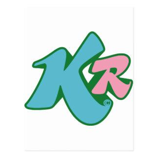Röd initial logotyp för mördare vykort