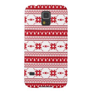 Röd inspirerat mönster för jul tröja galaxy s5 fodral