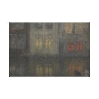 Röd James McNeill Whistler - Nocturne - som är Canvastryck