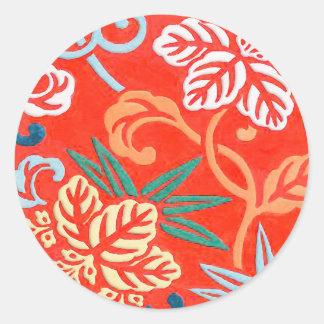 Röd japansk brocade - och vit runda klistermärken