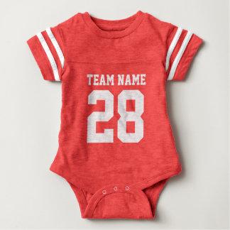 Röd Jersey för sportar för vitbabyfotboll Romper Tee Shirt